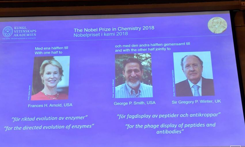 Trio wins chemistry Nobel for work on antibody drugs, smart enzymes