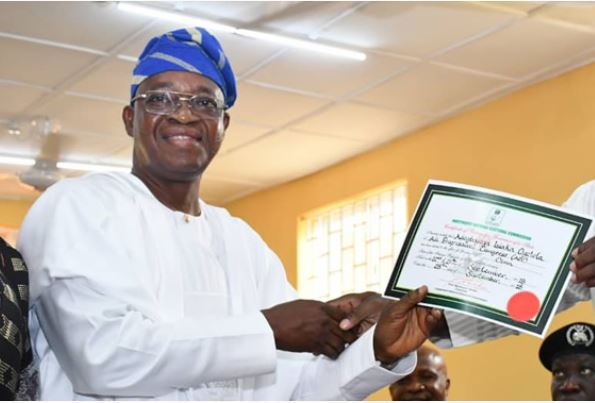 Osun state guber elect, Oyetola recieves INEC'S certificate of return