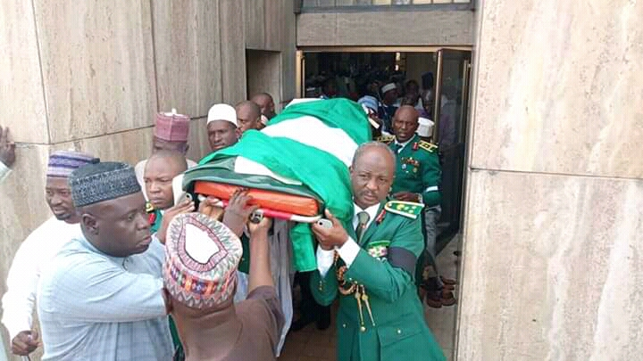 Late Major Gen. Alkali buried at the National Mosque in Abuja