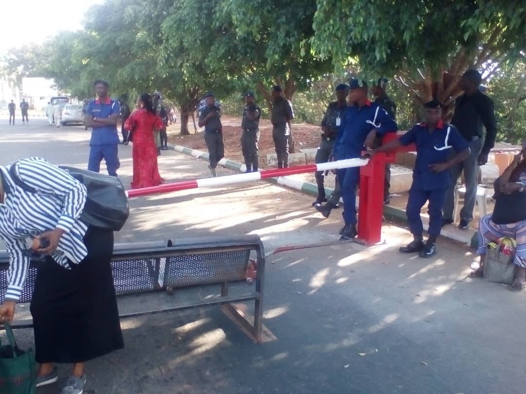 NASS staff take protest to gate, prevent entry