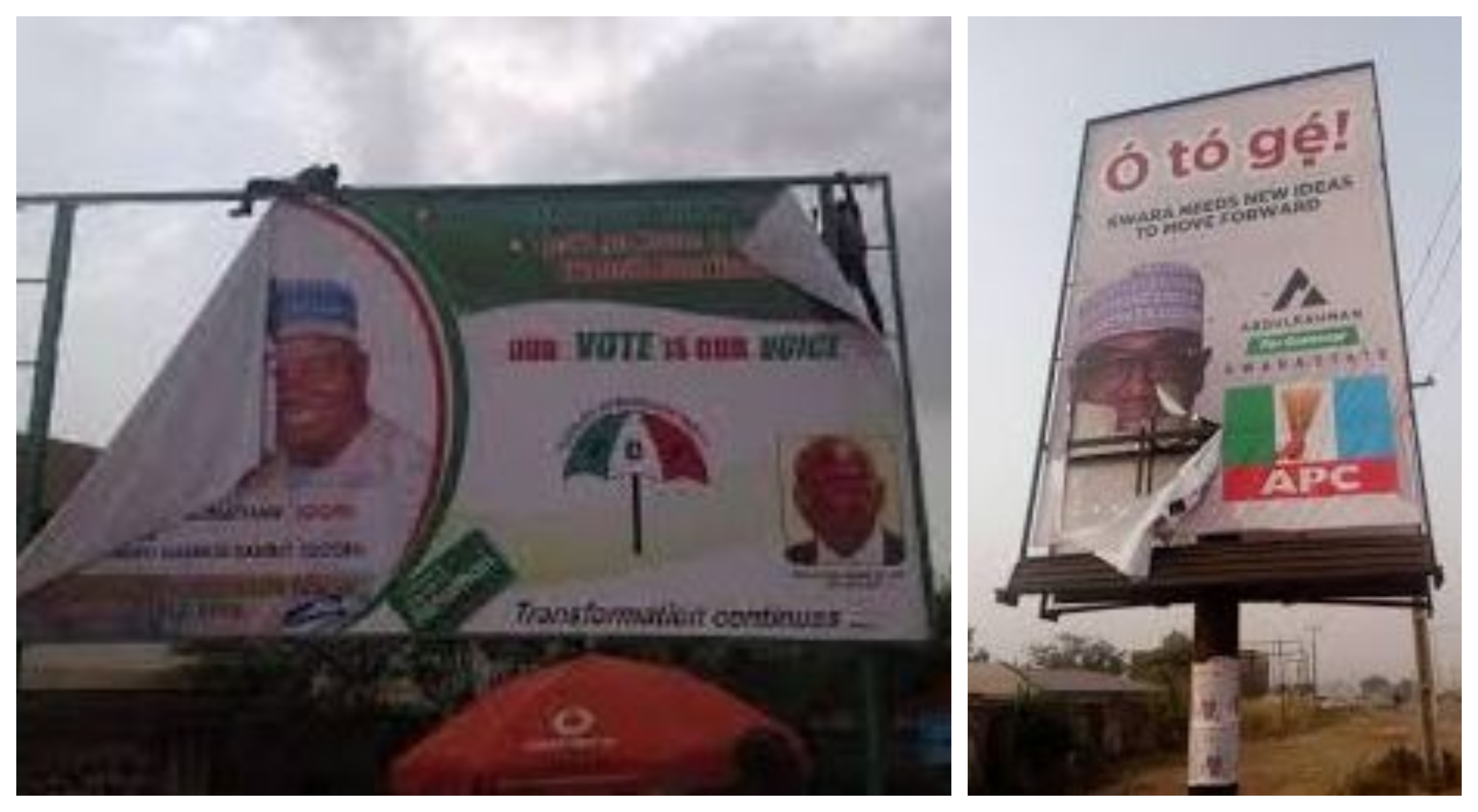 APC, PDP trade blames over destroyed campaign billboards in Kwara state