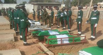 Army officer, 13 soldiers laid to rest in Kaduna