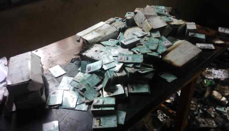 Abia INEC Office set on fire, unclaimed PVCs burnt