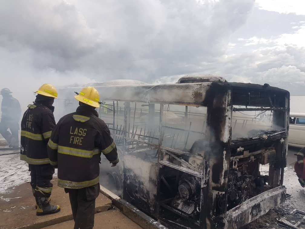 BREAKING: BRT Bus gutted by fire on third mainland bridge