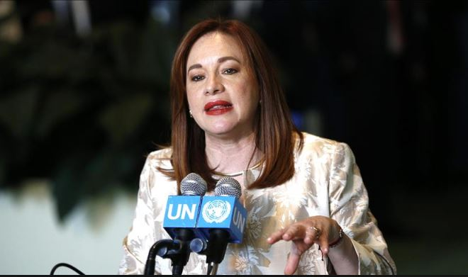 Image result for United Nations General Assembly President, María Fernanda Espinosa, arrives in Abuja.