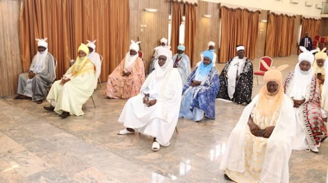 PHOTOS: Gombe traditional rulers keep 'social distance' at meeting ...