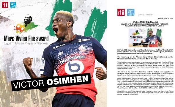 Victor Osimhen win 2020 Marc-Vivien Foe prize for Best African ...